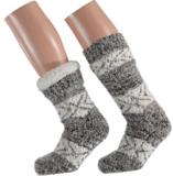 Apollo Huis sokken gevoerd grijs bruin (one size 36/41) Tijdelijk op_