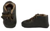 Baby schoentjes grijs, leer en wol gevoerd._
