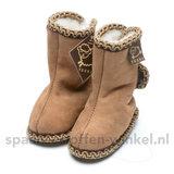 Baby schoentjes bruin, leer en wol gevoerd texel aan je voeten_