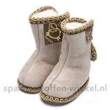 Baby schoentjes beige, leer en wol gevoerd texel aan je voeten_