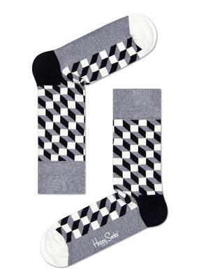 Happy Socks Filled Optic Sokken - Zwart/Wit/Grijs - Maat 41-46