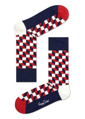 Happy Socks Optic Sokken - Blauw/rood/wit - Maat 41-46