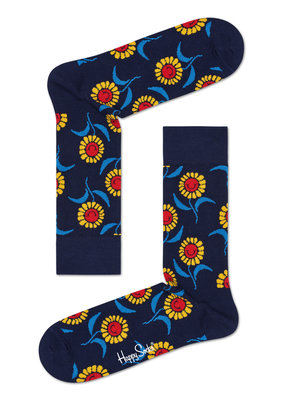 Happy Socks Flower - blauw multi - maat 36-40 en 41-46