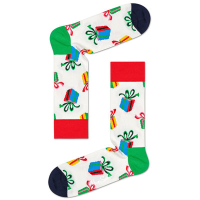 Happy Socks - Christmas - Present - Wit Multi - Unisex - maat 36-40 en 41-46