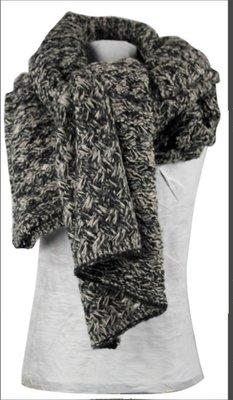 Sjaal, dames, burnaby kleur zwart, lengte 210 cm