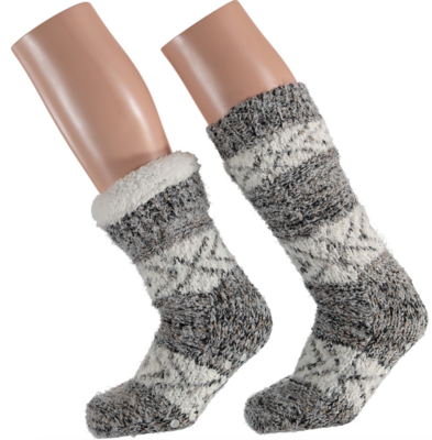 Apollo Huis sokken gevoerd grijs bruin (one size 36/41) Tijdelijk op