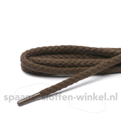 Cordial katoenen donkerbruin grof rond veters dikte 4 mm 120 cm