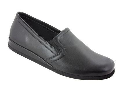 Pantoffel Rohde zwart leer 6402-90