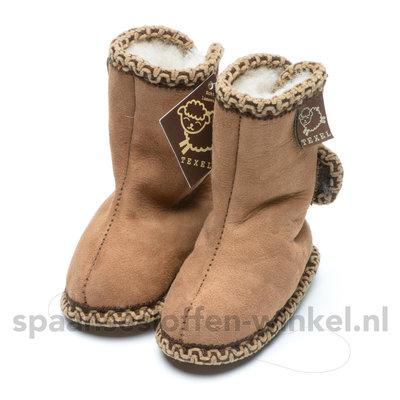 Baby schoentjes bruin, leer en wol gevoerd texel aan je voeten