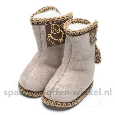 Baby schoentjes beige, leer en wol gevoerd texel aan je voeten
