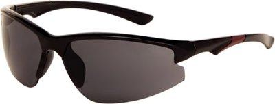 Polariserende sportieve zonnebril met rood accent met grijs glas