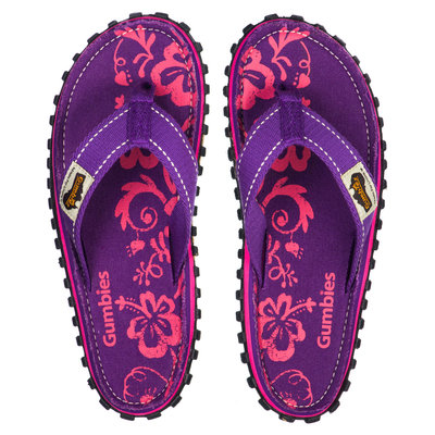 Gumbies - Islander Canvas Flip-Flops - Purple Hibiscus