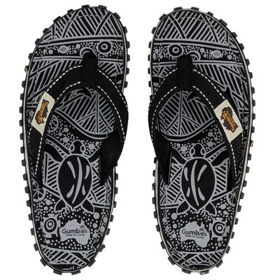 Gumbies - Islander Canvas Slippers Black Signature Pattern