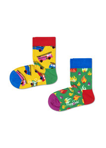 Happy Socks KIDS 2 Pack brandweer en vuur - Maat 0-12 maanden en 12-24 maanden