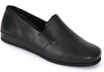 Slipper Rohde Black leather/lambswool 6420-90