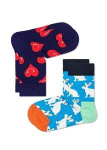Happy Socks KIDS 2 Pack hartjes en konijn Sokken Multi- 0-12 maanden