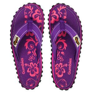 Gumbies - Islander Canvas Flip-Flops - Purple Hibiscus